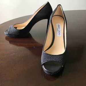 Jimmy Choo London 10M (40) Open Toe Black Heels